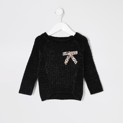 Mini girls black chenille bow slouch jumper