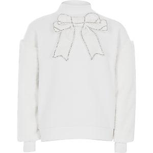 Crèmekleurige sweater met strik en mouwen van imitatiebont voor meisjes