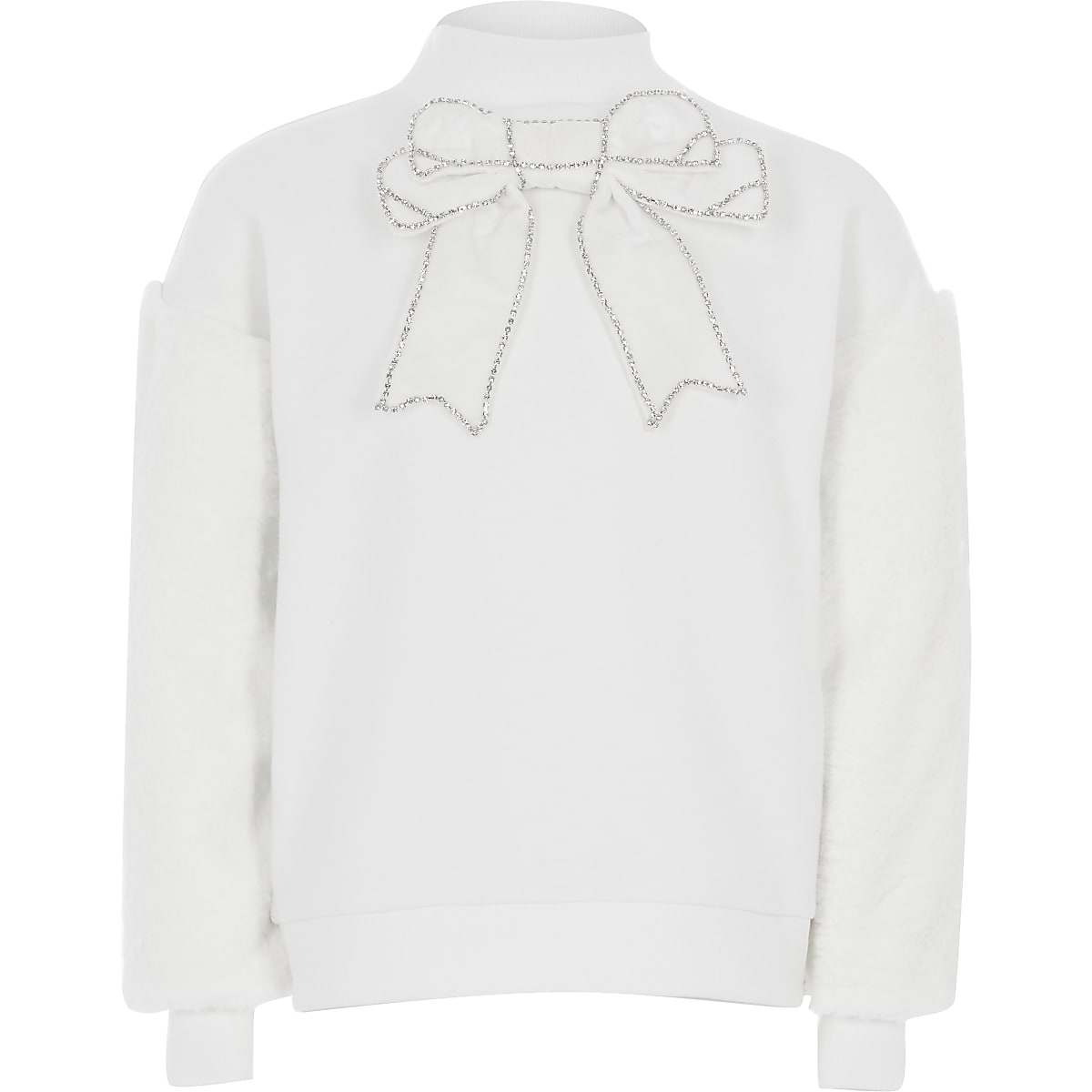Girls cream bow faux fur sleeve sweatshirt