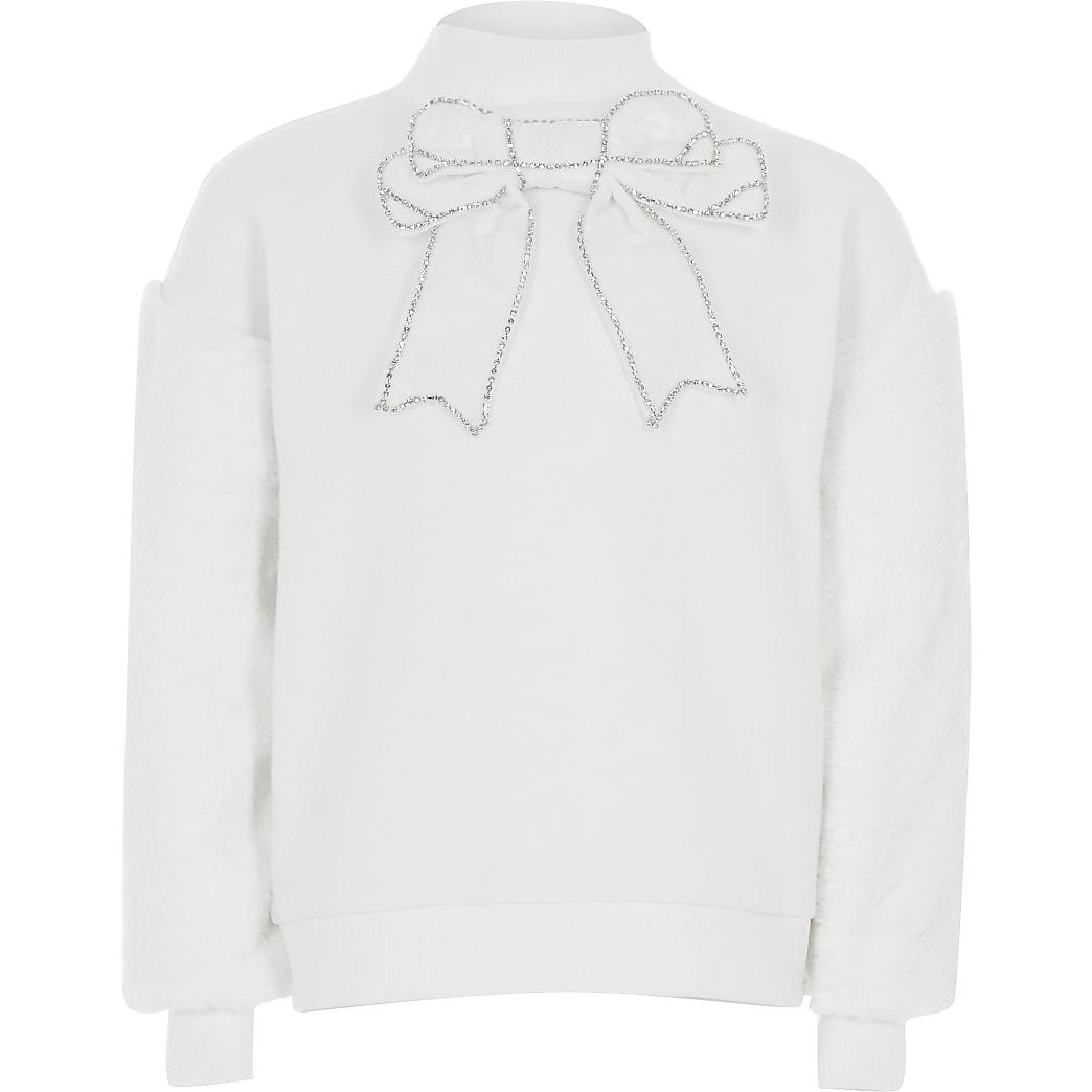 Girls cream bow faux fur sleeve sweatshirt