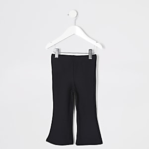 Mini girls black fuchette kick flare trouser