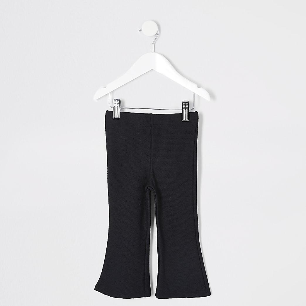 Mini - Zwarte uitlopende fuchette kick broek voor meisjes