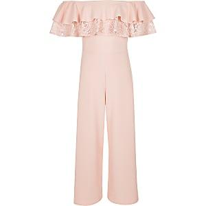 Pinker Bardot-Overall aus Spitze
