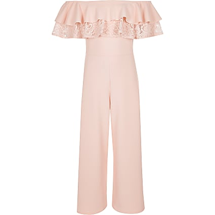 Girls pink lace bardot jumpsuit