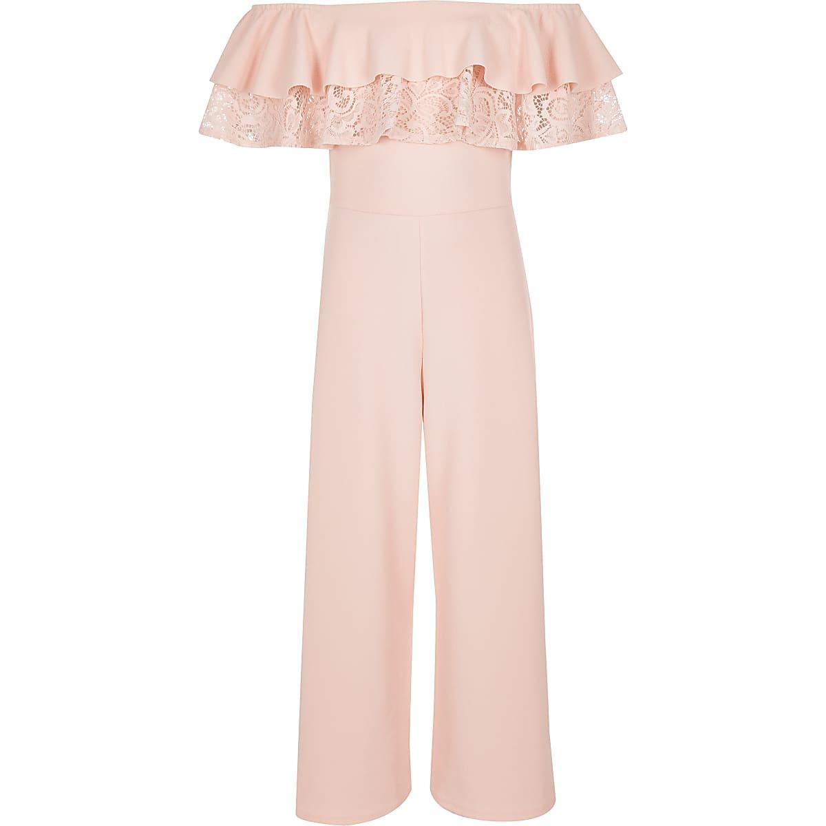 Roze bardot-jumpsuit met kant voor meisjes