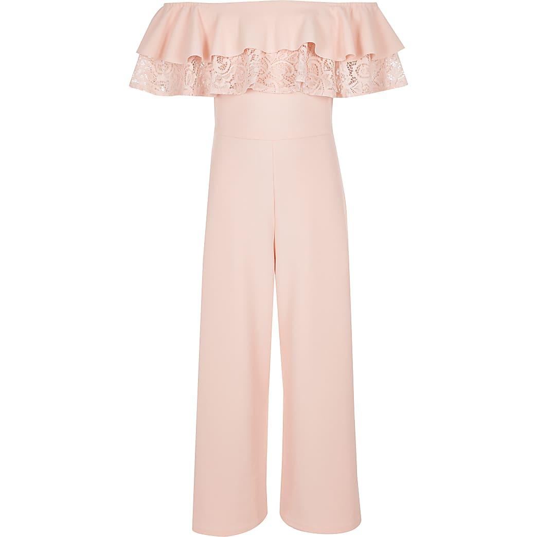 Girls pink lace bardot jumpsuit