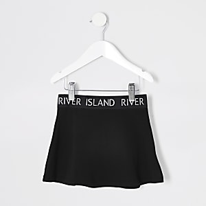 Mini girls black Ri waistband skirt