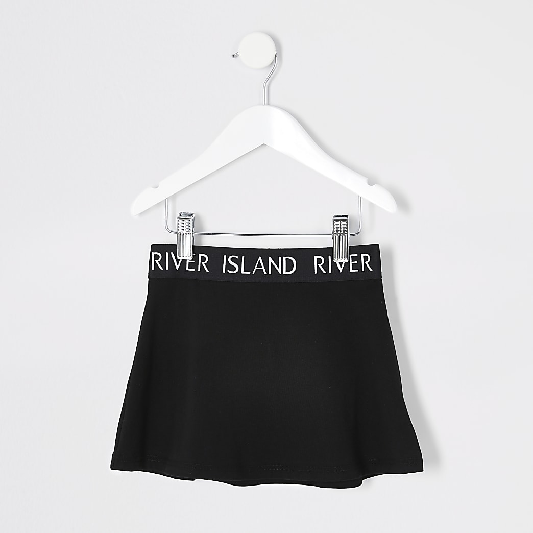 Mini girls black Ri waistband skirt