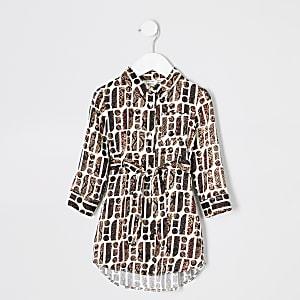 Robe chemise crème RI à imprimé serpent pour fille