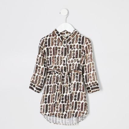 Mini girls cream snake print RI shirt dress