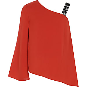 Girls red RI one shoulder top