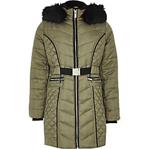 Manteau long matelasséekaki en satin avec ceinture pour fille