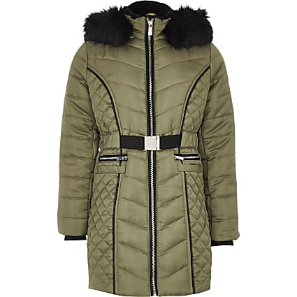 Girls khaki satin belted padded longline coat