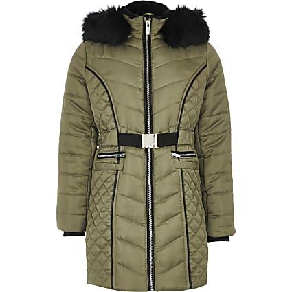 Girls khaki satin belted padded longline coat