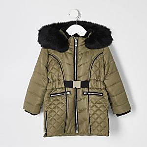 Manteau matelassékaki en satin avec ceinture Minifille