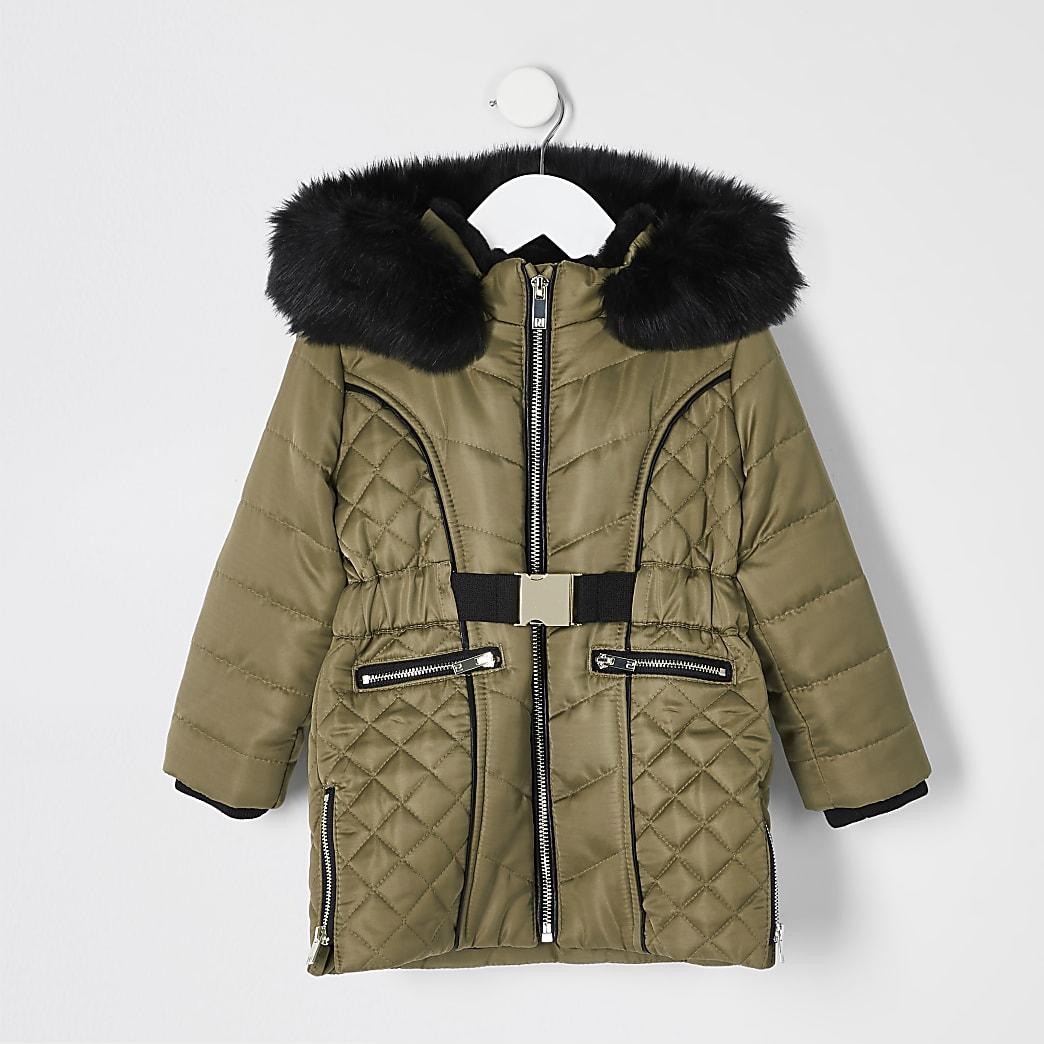 Mini -Kaki gewatteerde lange jas met satijnen ceintuur voor meisjes