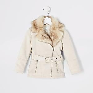 Cremefarbene Jacke aus Wildlederimitat mit Gürtel für kleine Mädchen