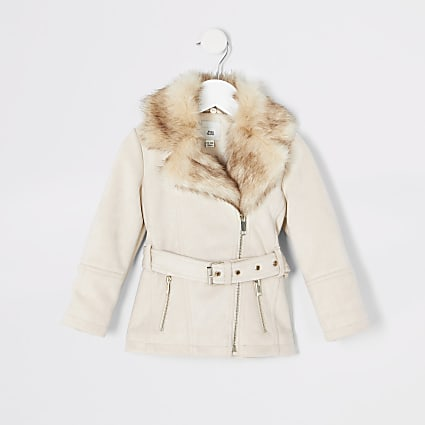 Mini girls cream faux suede belted jacket