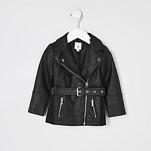 Veste en cuir synthétique noire avec ceinture Mini fille