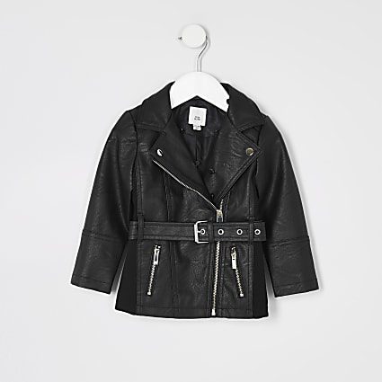 Mini girls black faux leather belted jacket