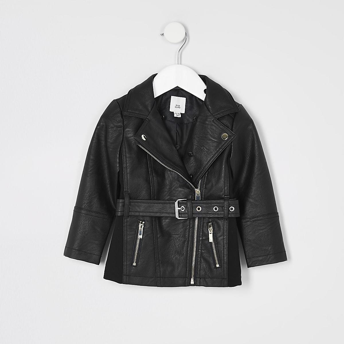 Mini -Zwart jack van imitatieleer met ceintuur voor meisjes