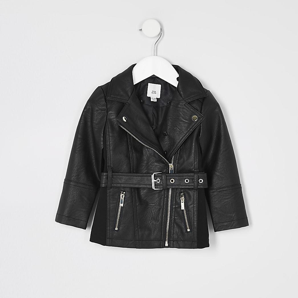 Schwarze Jacke mit Gürtel aus Kunstleder für kleine Mädchen