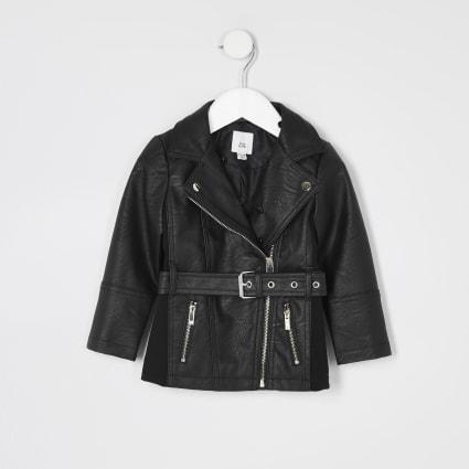 Mini girls black faux leather belted jacket