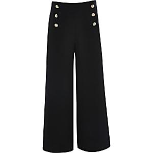 Schwarze Hose mit Knöpfen für Mädchen