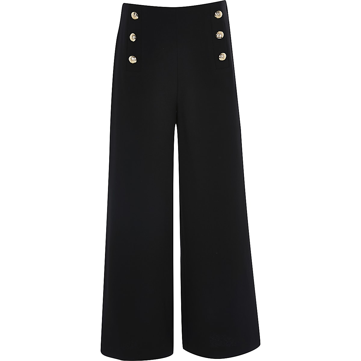 Girls black button front trousers