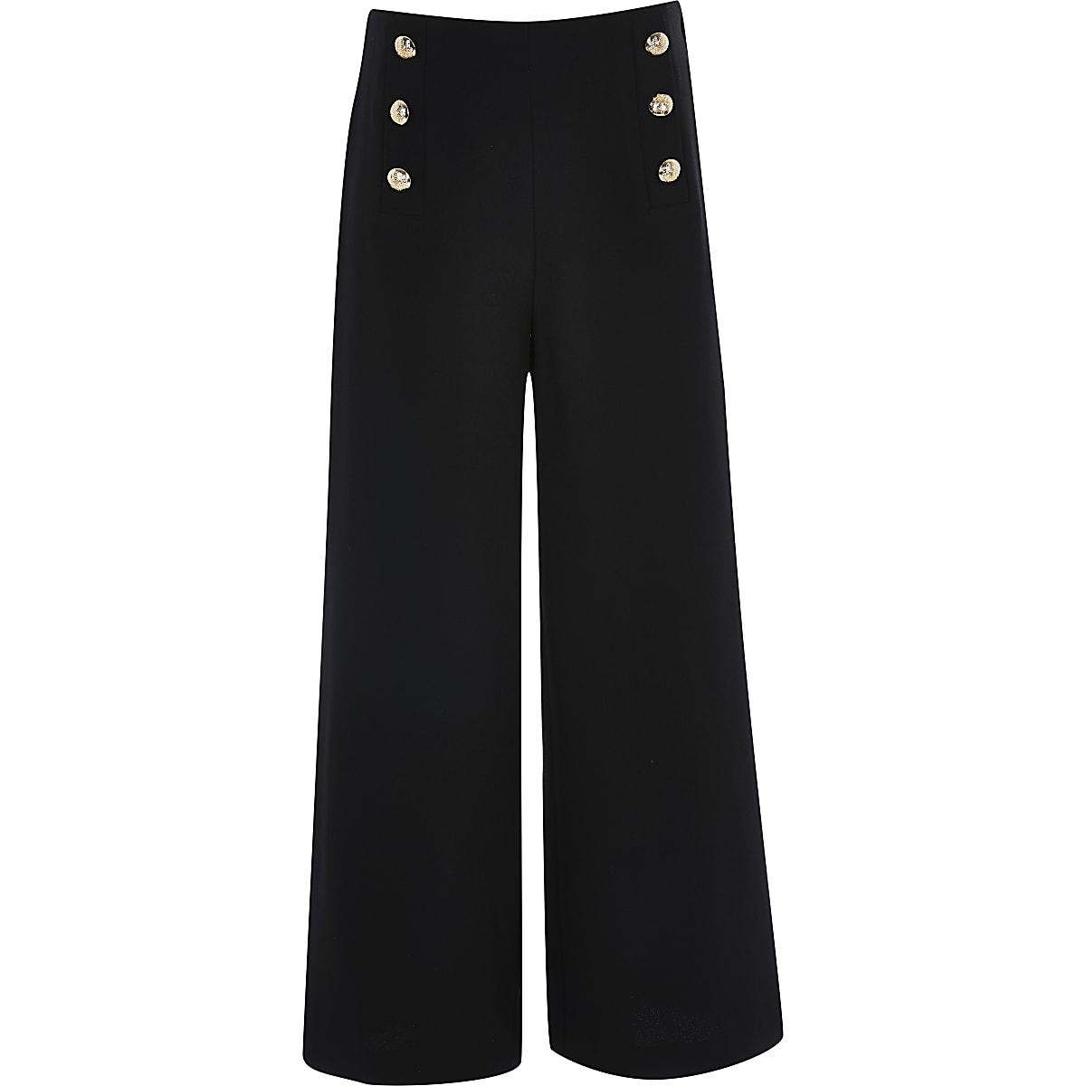Zwarte broek met knopen voorop voor meisjes