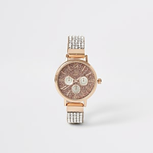 Goldfarbene Armbanduhr mit strassbesetztem Armband für Mädchen