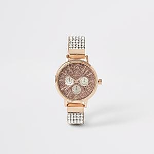 Goudkleurig horloge met bandje met siersteentjes voor meisjes
