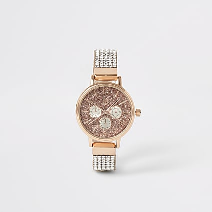 Girls gold colour diamante strap watch