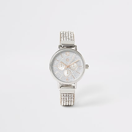 Girls silver colour diamante strap watch