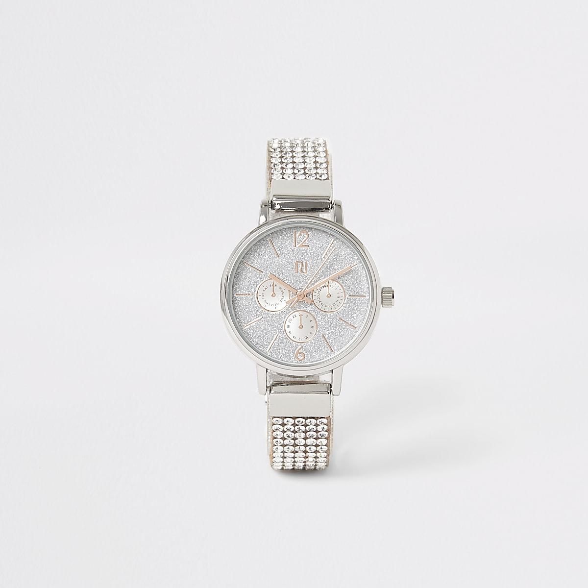 Girls silver colour diamante strap watch
