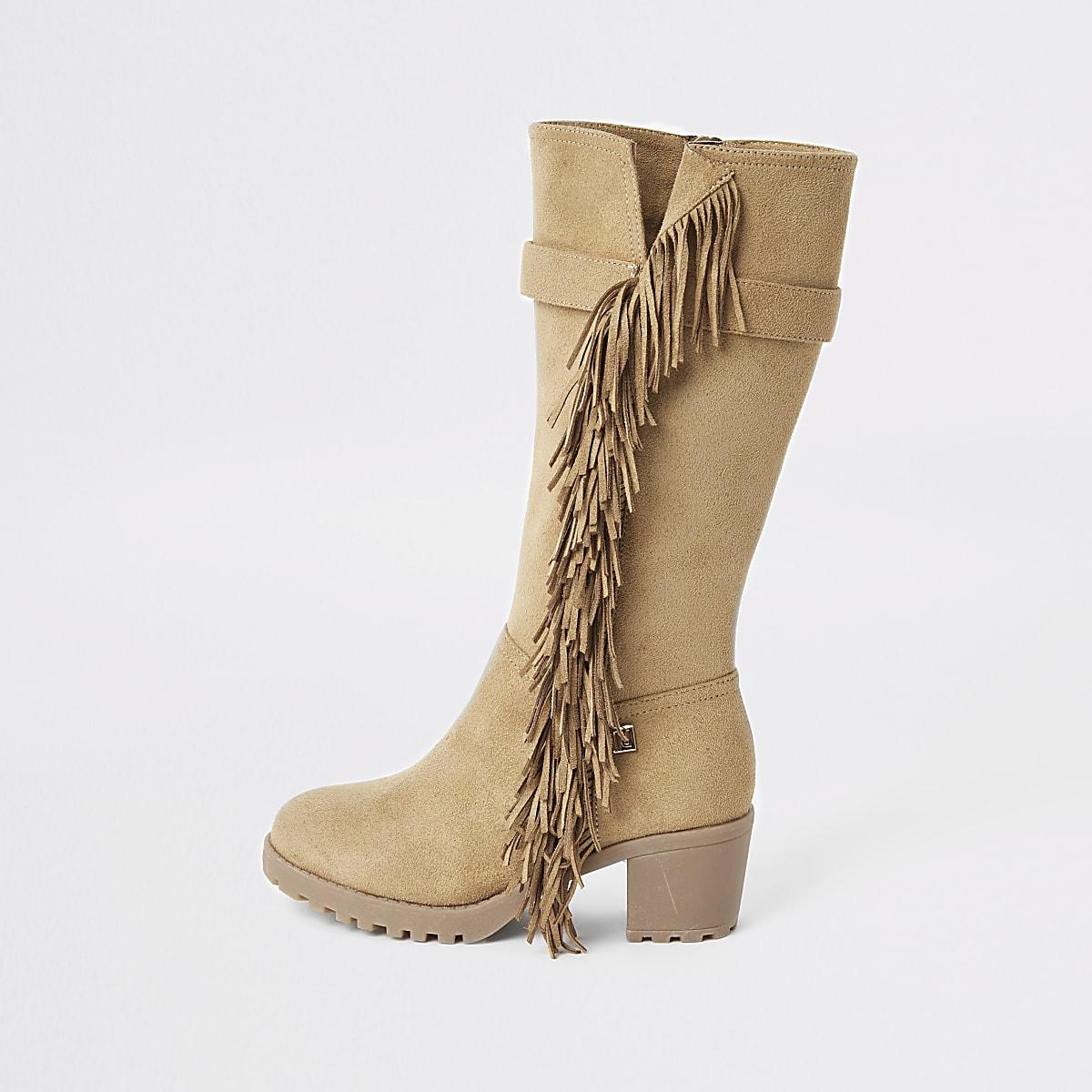 Bruine kniehoge laarzen met hakken en franje voor meisjes