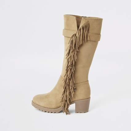 Brown fringe knee high heeled boots