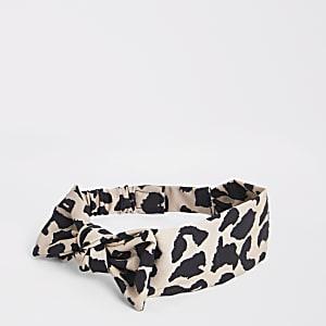Serre-tête marron à nœud imprimé léopard mini fille