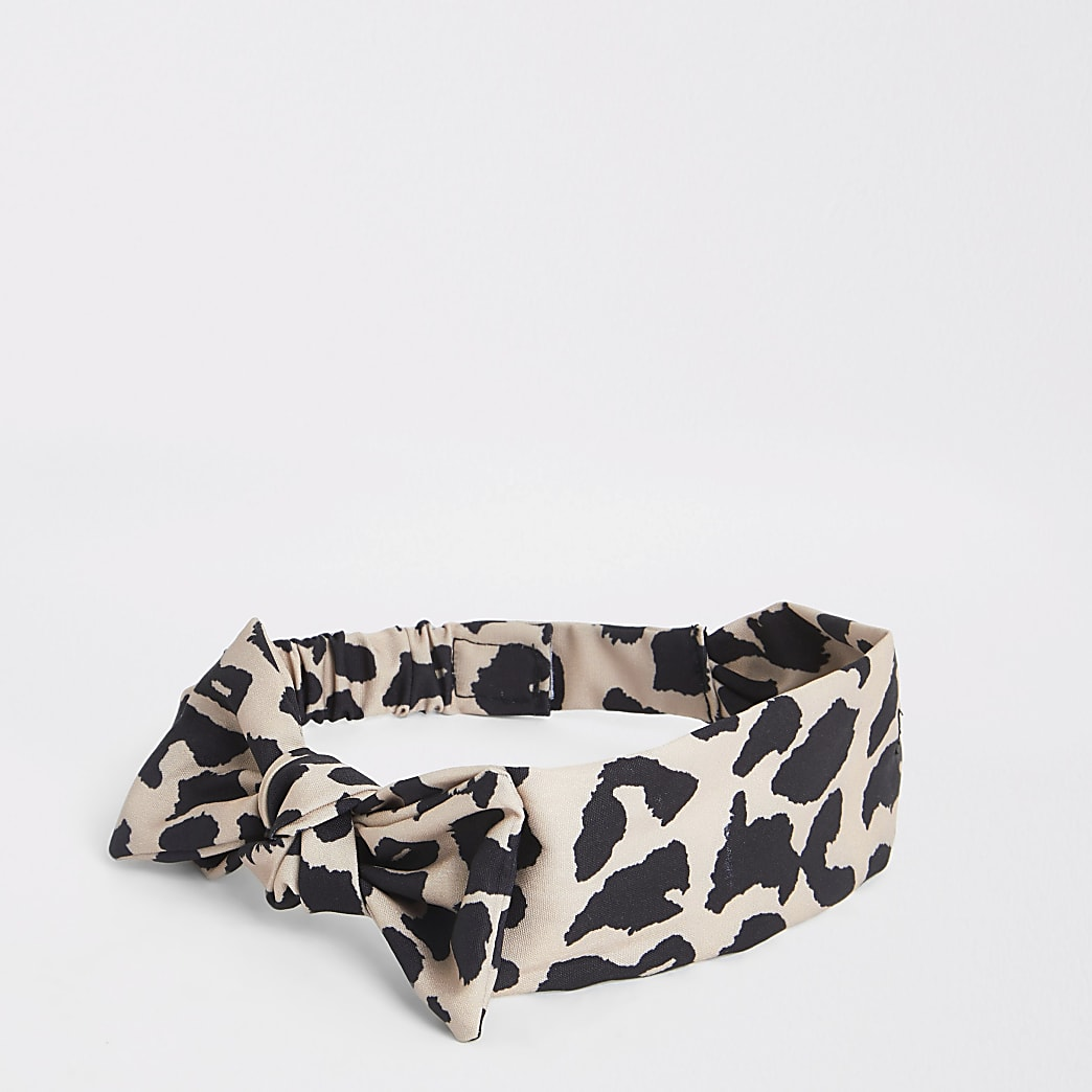 Mini girls brown leopard bow headband
