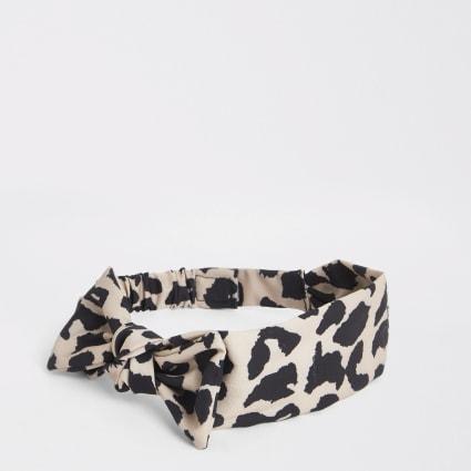 Mini girls brown leopard bow headband