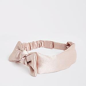 Serre-tête rose poudre avec nœud mini fille