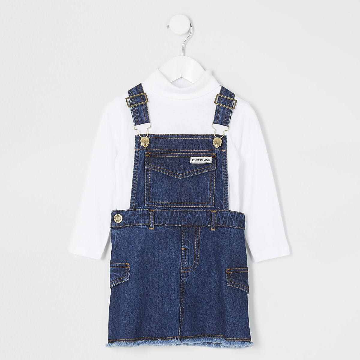 good out x new arrivals street price Mini girls blue denim pinafore dress outfit