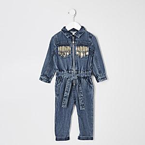 Blauer Jeansoverall mit Pailletten für kleine Mädchen