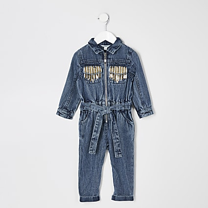Mini girls blue sequin denim boilersuit