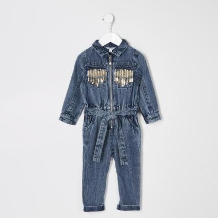 Mini girls blue sequin denim boilersuit