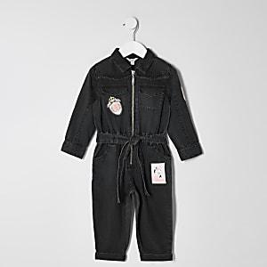 Mini – Schwarzer Overall mit Aufnähern für Mädchen