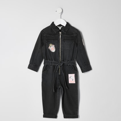 Mini girls black badge boiler jumpsuit