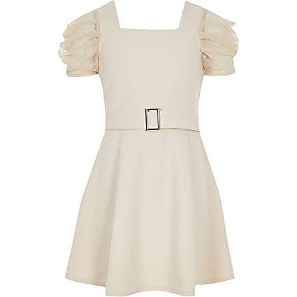 Girls pink mesh sleeve belted skater dress