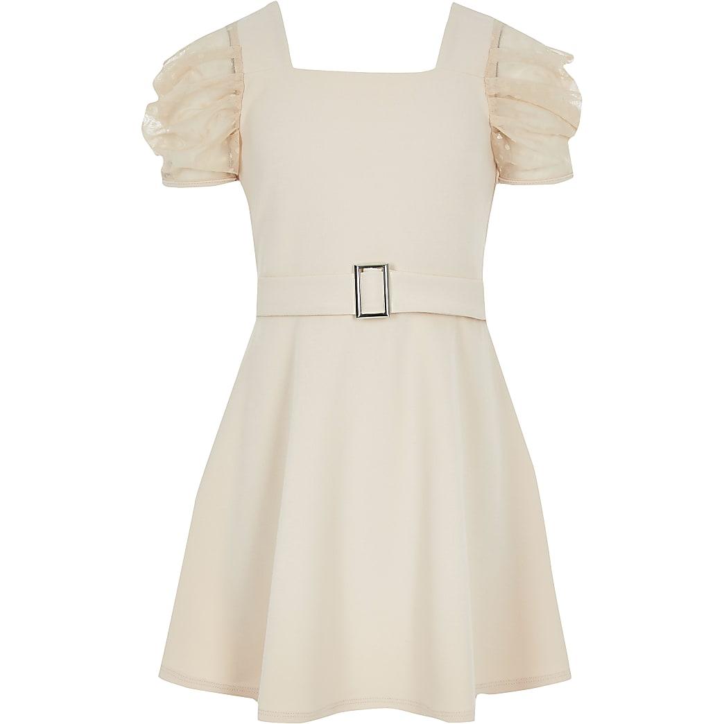 Girls pink mesh sleeve belted skater dress