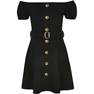 Zwarte bardotjurk met riem voor meisjes